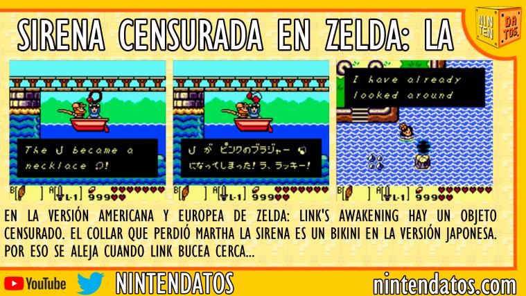 Sirena censurada en Zelda Link's Awakening