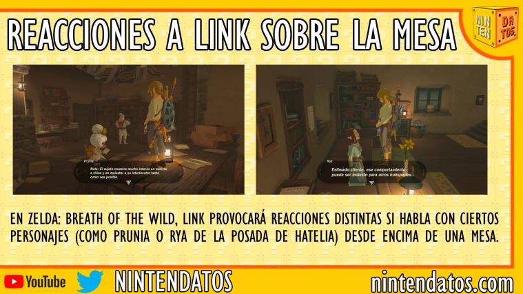Reacciones a Link sobre la mesa